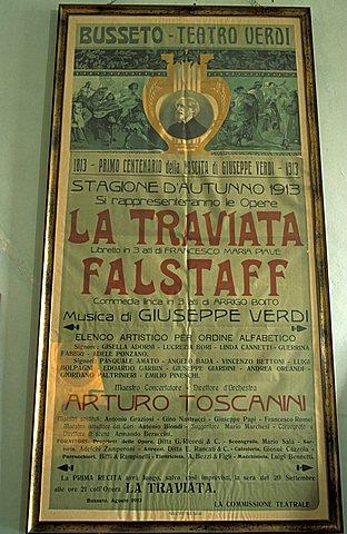 Playbill of Traviata, Villa Pallavicino, Busseto, Parma, Emilia Romagna, Italy