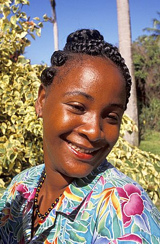 Local woman smiling, Saint Kitts and Nevis, Leeward Islands, Caribbean Islands, Central America, Atlantic Ocean