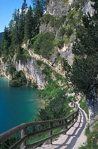 Braies lake, Val Pusteria, Trentino Alto Adige, Italy