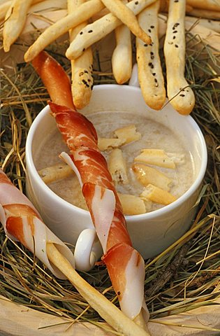 Soup of Valdaora bread and breadsticks with speck, Hotel Mirabell, Valdaora, Val Pusteria, Trentino Alto Adige, Italy