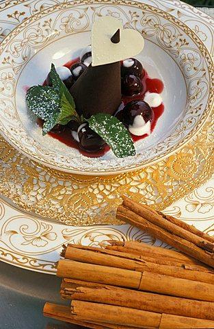Cinnamon parfait in chocolate on cherry, Hotel Mirabell, Valdaora, Val Pusteria, Trentino Alto Adige, Italy
