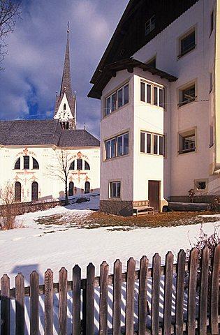 Foreshortening with bell tower, San Leonardo,  Alta Badia, Trentino Alto Adige, Italy