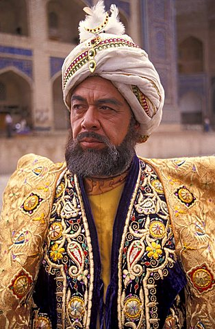 Man dressed in traditional dresses in Bukhara city, Republic of Uzbekistan, Central Asia, Asia