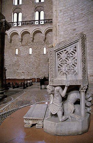 Episcopale marble chair, San Nicola basilica, Bari, Puglia, Italy