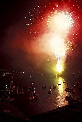 Fireworks, Varenna, Como lake, Lombardy, Italy