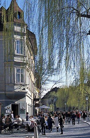 Restaurant, Cankarjevo nabrezje street, Ljubljana, Slovenia, Europe