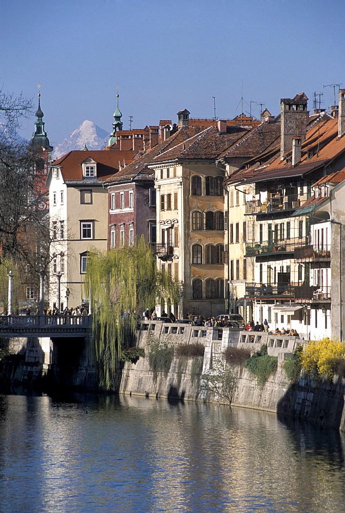 Cankarjevo nabrezje street, Ljubljana, Slovenia, Europe
