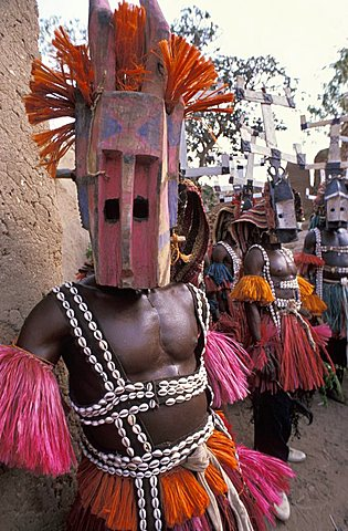 Ceremony in Dogon village of Tiogoù,  Republic of Mali, West Africa, Africa