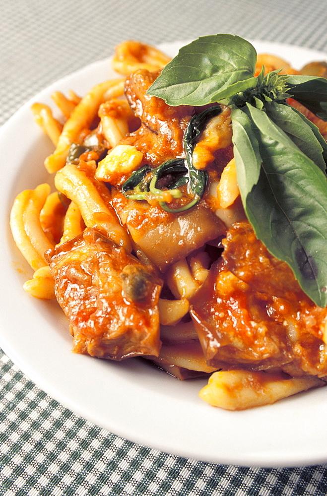 Strozzapreti pasta with tomato sauce, Il Veliero restaurant, Marettimo island, Egadi islands, Sicily, Italy