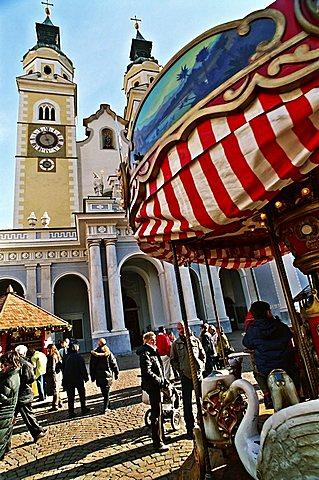Cathedral and Christmas market, Bressanone, Trentino Alto Adige, Italy