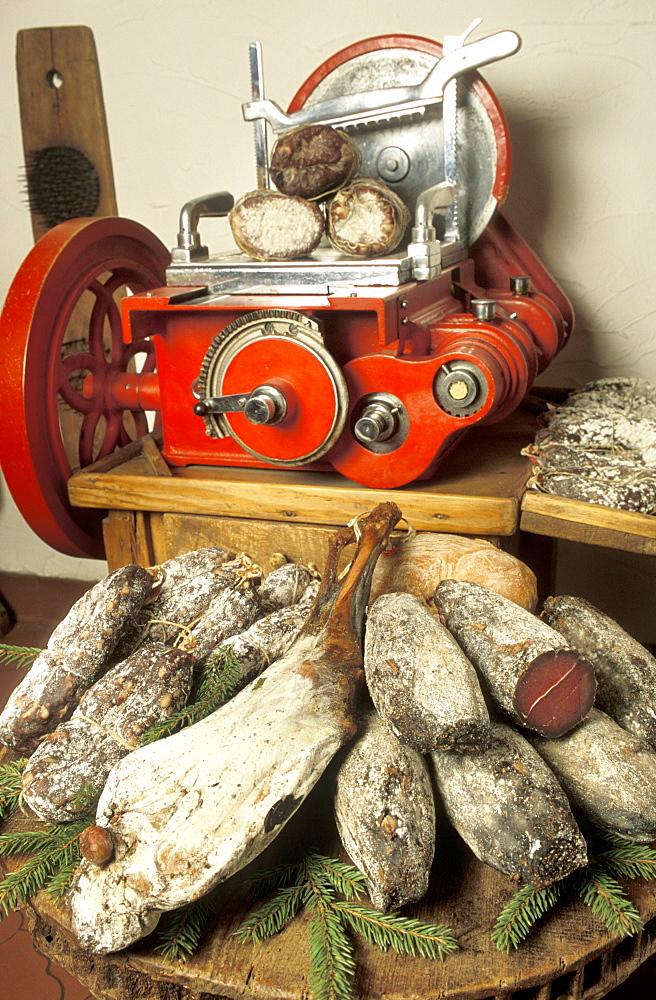 Typical products, Il Salumaio shop, Bormio, Lombardy, Italy