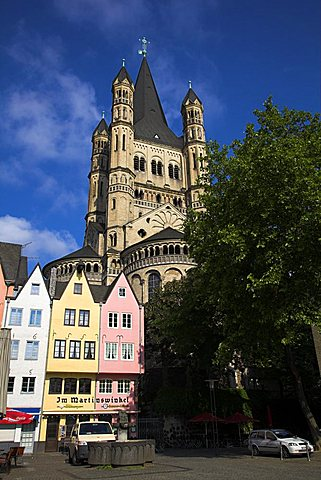 Old Town with St. Martin's church, Cologne, Nordrhein-Westfalen, Germany, Europe