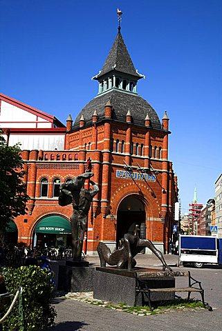 Entrance to covered market, Ostermalmstorg, Stockholm, Sweden, Scandinavia, Europe