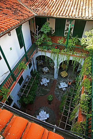 Courtyard, Hotel Valencia, Havana, Cuba, West Indies, Central America