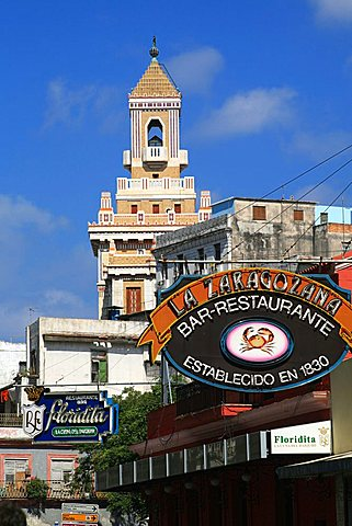 Bar Floridita and Bar La Zaragolana signs, Havana, Cuba, West Indies, Central America