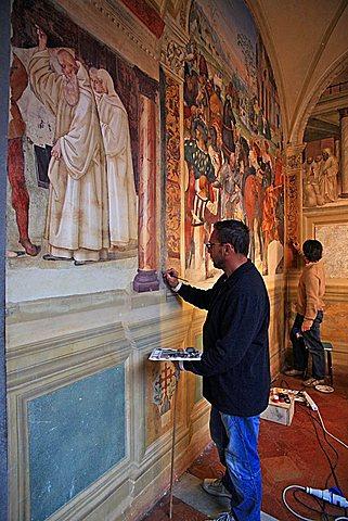 Fresco, Cloister, Monte Oliveto Maggiore abbey, Chiusure, Tuscany, Italy, Europe
