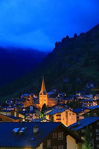 View of town, Zermatt, Valais, Switzerland, Europe