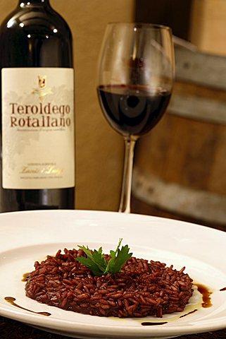 Risotto with Teroldego wine, Per Bacco Restaurant, Mezzolombardo, Trentino, Italy