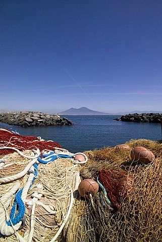 Nets in small harbour of Mergellina, Napoli, Campania, Italy, Europe