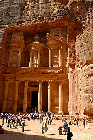 The Treasury or Al-Khazneh, Entrance of Petra, Petra, Jordan, Middle East
