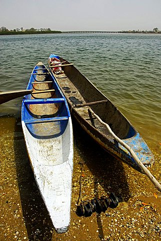 Pirogue fishing boat, Joal-Fadiouth, Republic of Senegal, Africa
