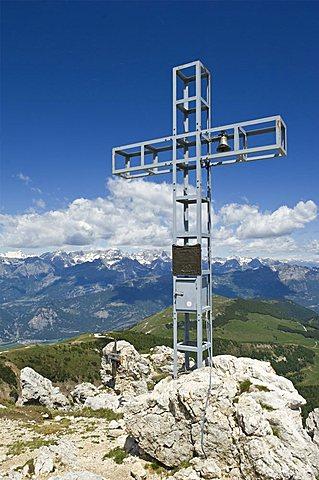 Cross on Dosso d'Abramo mountain, Bondone mountain, Trentino Alto Adige, Italy
