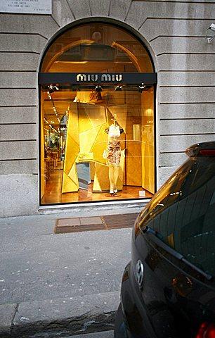 Miu Miu shop window, Via Sant'Andrea 21  street, Milan, Lombardy, Italy, Europe