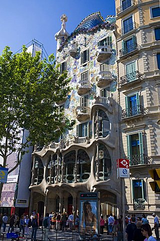Casa Battlò of Antoni Gaudì, Passeig de Gràcia, Barcelona, Spain, Europe