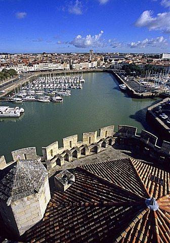 View on port from Tour Saint Nicolas, La Rochelle, France, Europe