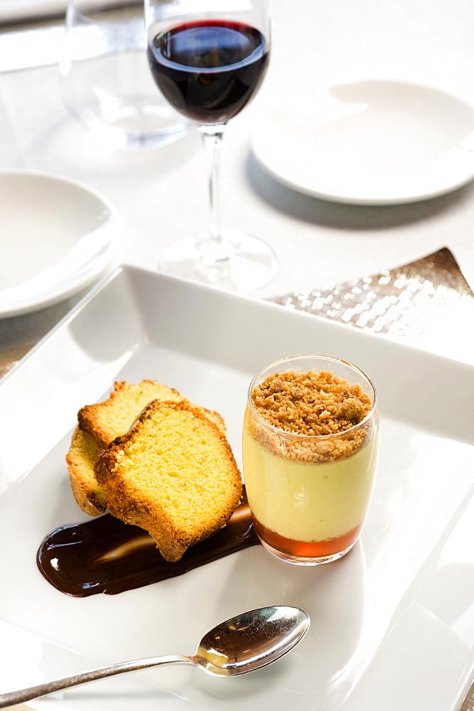 Amor polenta with cold zabaione with Moscato di Scanzo, Fabrizio Ferrari chef, Bergamo, Italy, Europe