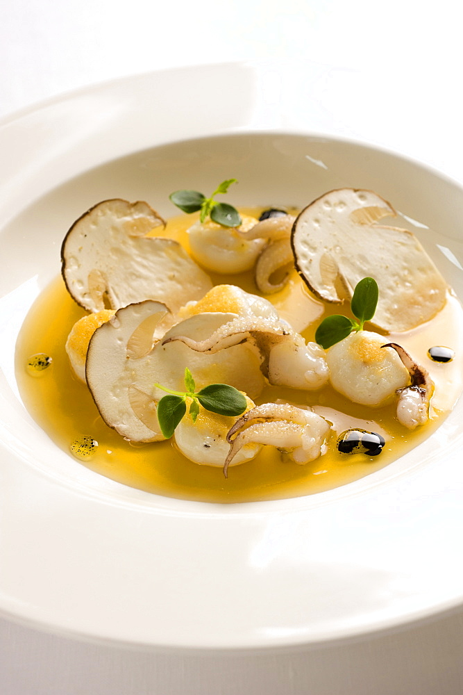 Sepia ravioli in boletus mushroom consommé, Andrea Berton chef, Milan, Italy, Europe