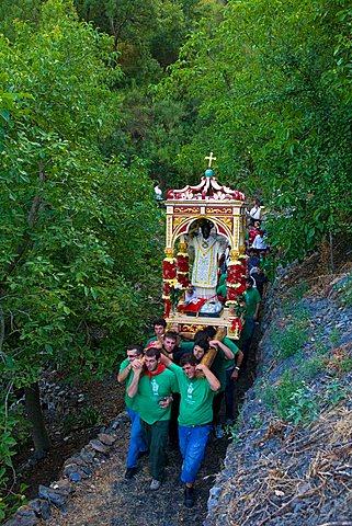 Religious procession, Saint Filippo feast, Roccafiorita, Sicily, Italy