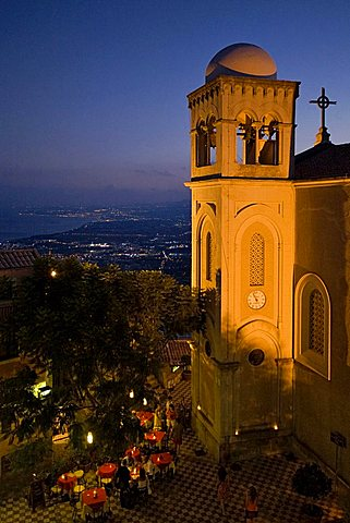 San Nicola di Bari church, Castelmola, Taormina in the background, Messina, Sicily, Italy, Europe