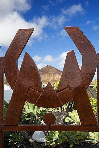 Logo at the entrance, Cesar Manrique's former house, Taro de Tahiche, Lanzarote, Canary Islands, Spain