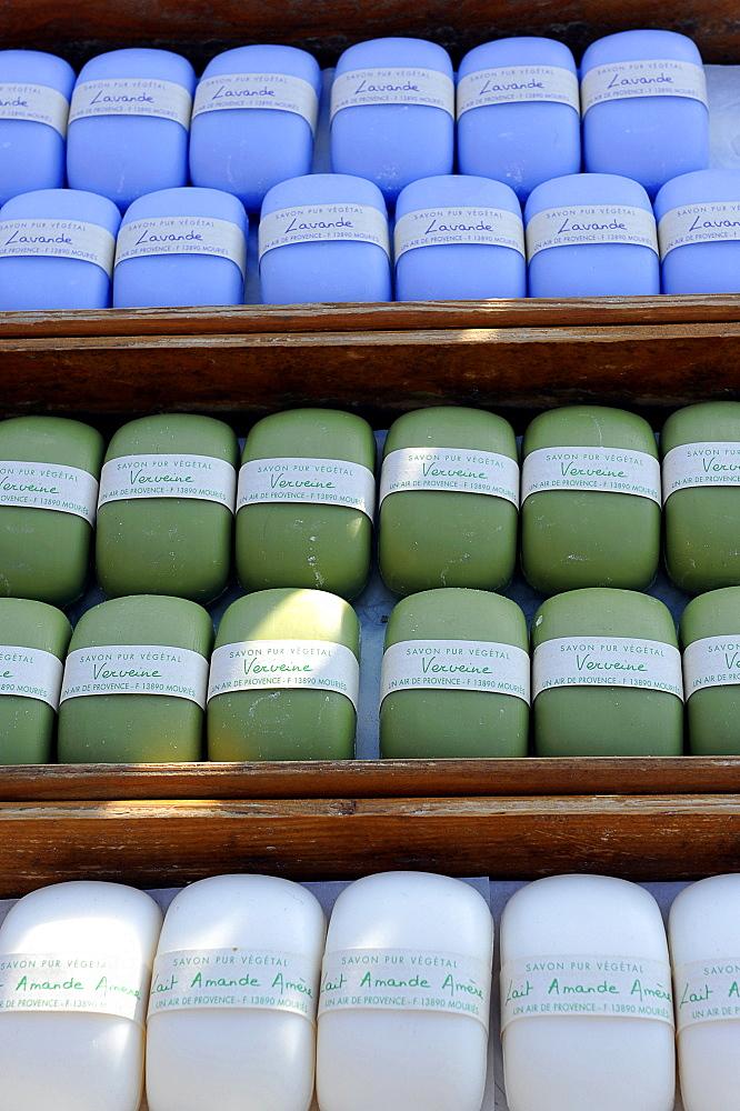 France, Provence, Isle sur la Sorgue, perfumed soap market