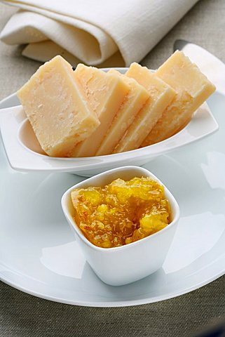 Stewed fruit, orange, spice, ginger with Parmigiano cheese, Italy, Europe