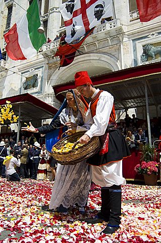 Cagliari, Ramadura, launeddas, Sant'Efisio traditional event, the most important religious feast in Sardinia, Italy, Europe