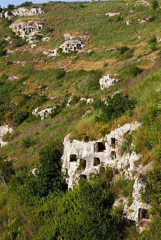 Square rock-cut tombs, Rocky Necropolis of Pantalica, UNESCO World Heritage Sites, river Anapo valley, Syracuse, Sicily, Italy