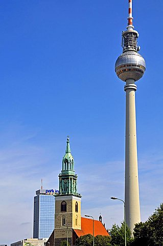 Fernsehturm television tower and Marienkirche church, Alexanderplatz, Berlin-Mitte Quarter, Berlin, Germany, Europe