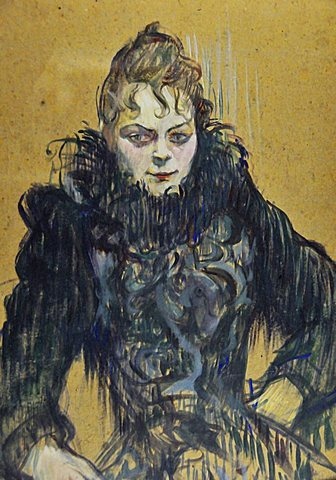 Woman with a black boa, Henri de Toulouse-Lautrec, Musee d'Orsay, Paris, Ile-de-France, France, Europe