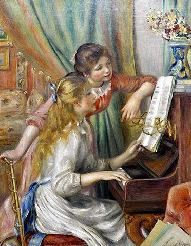 Girls at the Piano, Pierre-Auguste Renoir, Musee d'Orsay, Paris, Ile-de-France, France, Europe