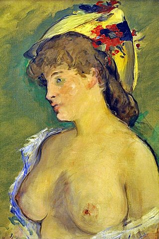 Blonde with bare breasts, edouard Manet, Musee d'Orsay, Paris, Ile-de-France, France, Europe