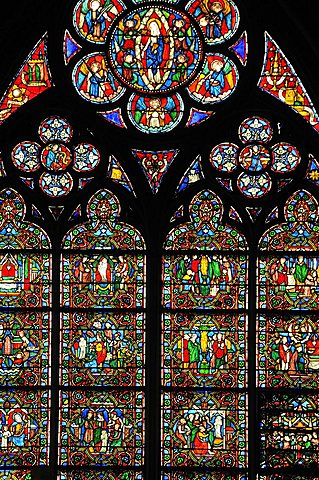 Stained glass window, Notre Dame Cathedral, Ile de la Cite, Paris, Ile-de-France, France, Europe