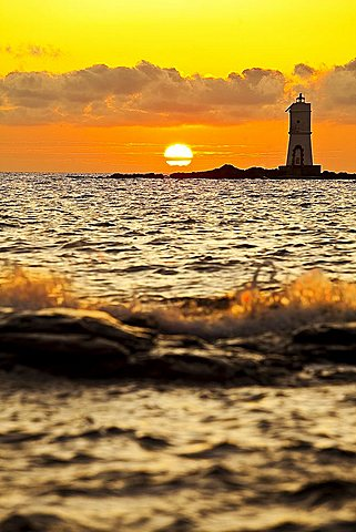 Rock and lighthouse Mangiabarche, Calasetta (CI), Sardinia, Italy, Europe