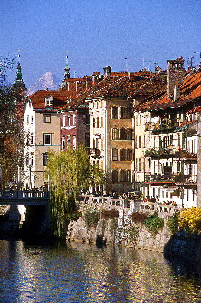 Ljubljanica river, City center, Ljubljana, Slovenia, Europe