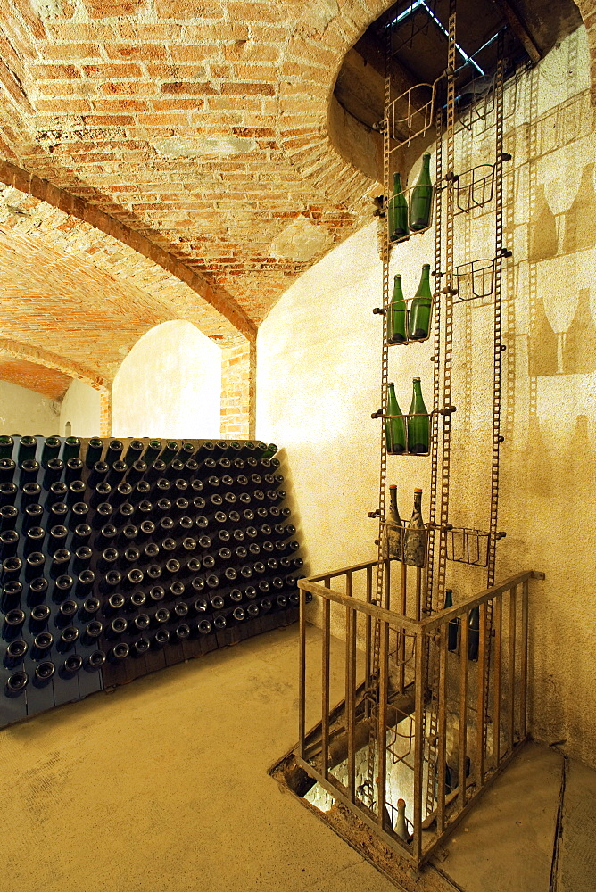 Bosca underground wine cathedral in Canelli, ancient bottle elevator, Asti, Piedmont, Italy, Europe