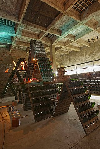 "Bosca underground wine cathedral in Canelli, artistic composition named ""la Piramide"" by Eugenio Guglielminetti, Asti, Piedmont, Italy, Europe"