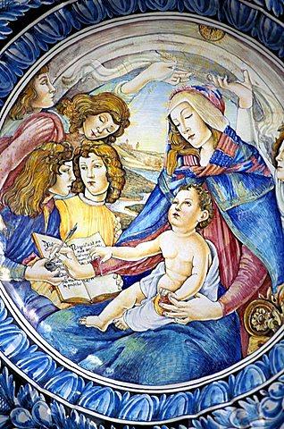 Detail of a ceramics plate, Umbria, Italy