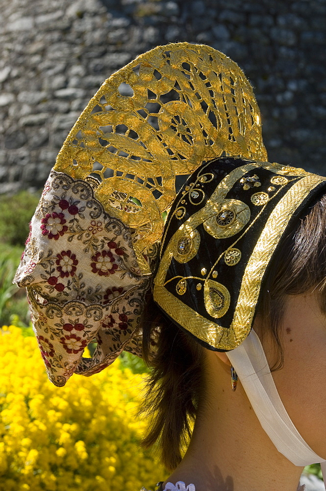 Tradictional headgear, Handicraft, Aosta, Gressoney-St-Jean, Valle d'Aosta, Italy, Europe