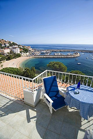 Terrace overlooking the sea, Apartments Ginestra, Cala Gonone, Dorgali, Provincia di Nuoro, Sardinia, Italy